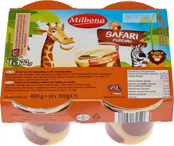 MILBONA (LIDL) Safari Pudding Vanille/chocolat